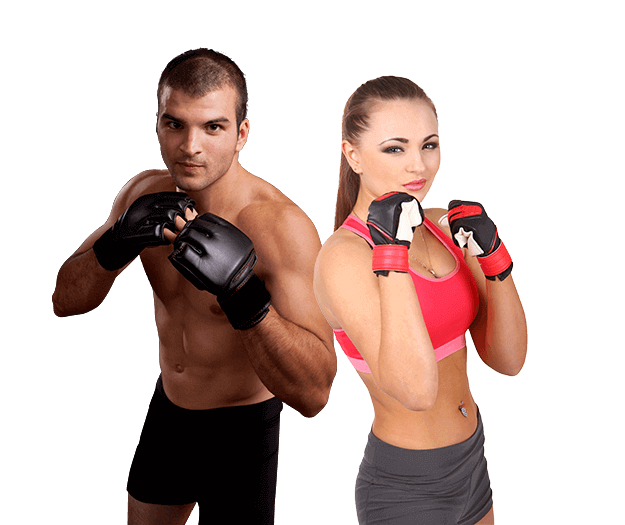Mixed Martial Arts Lessons for Adults in Maplewood NJ - Hands up Fitness MMA Man and Woman Footer Banner