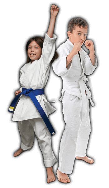 Martial Arts Lessons for Kids in Maplewood NJ - Happy Blue Belt Girl and Focused Boy Banner